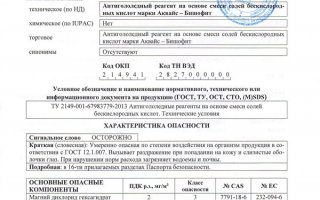 Паспорт безопасности SDS АКВАЙС-БИШОФИТ